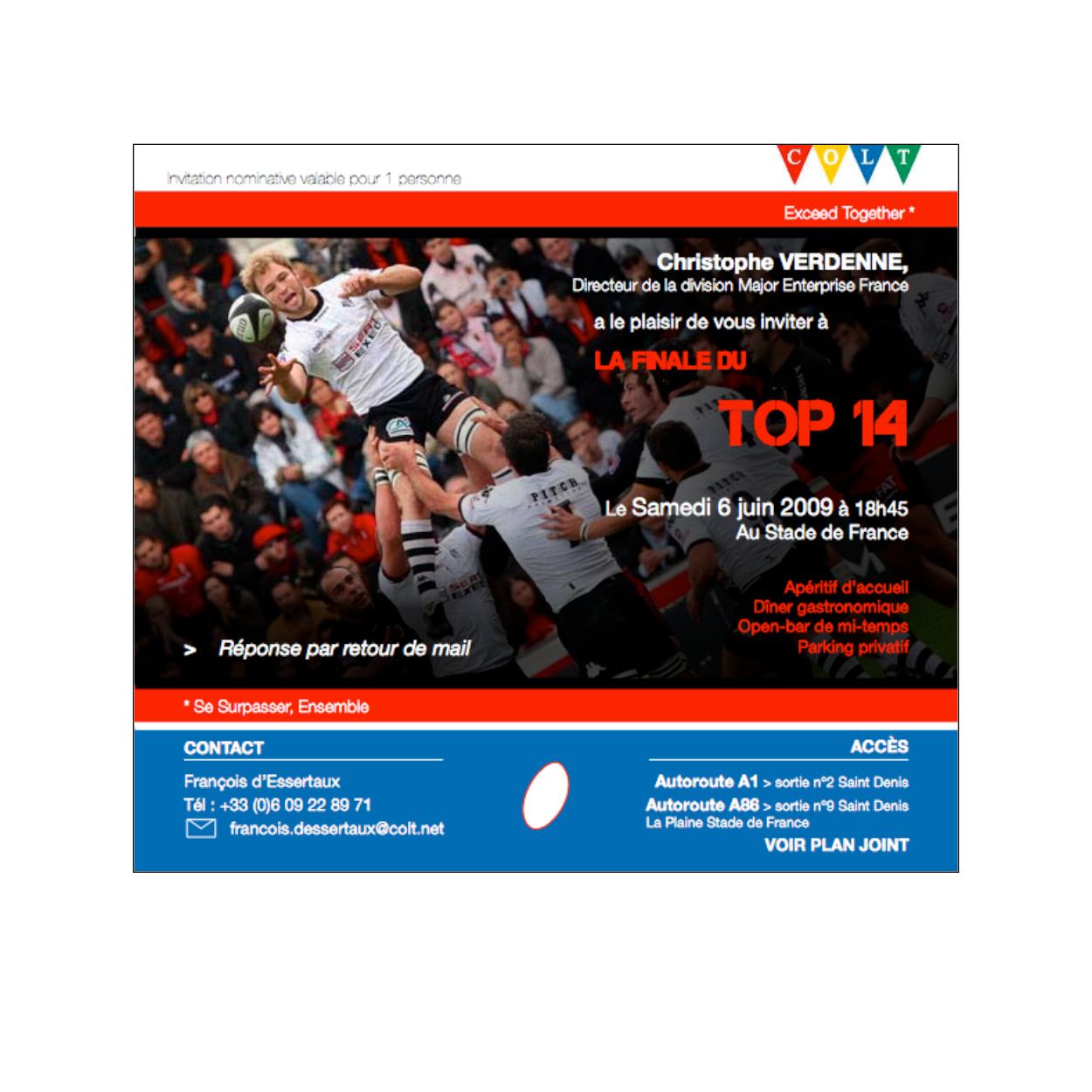 stage COLT Telecom Invitation TOP 14