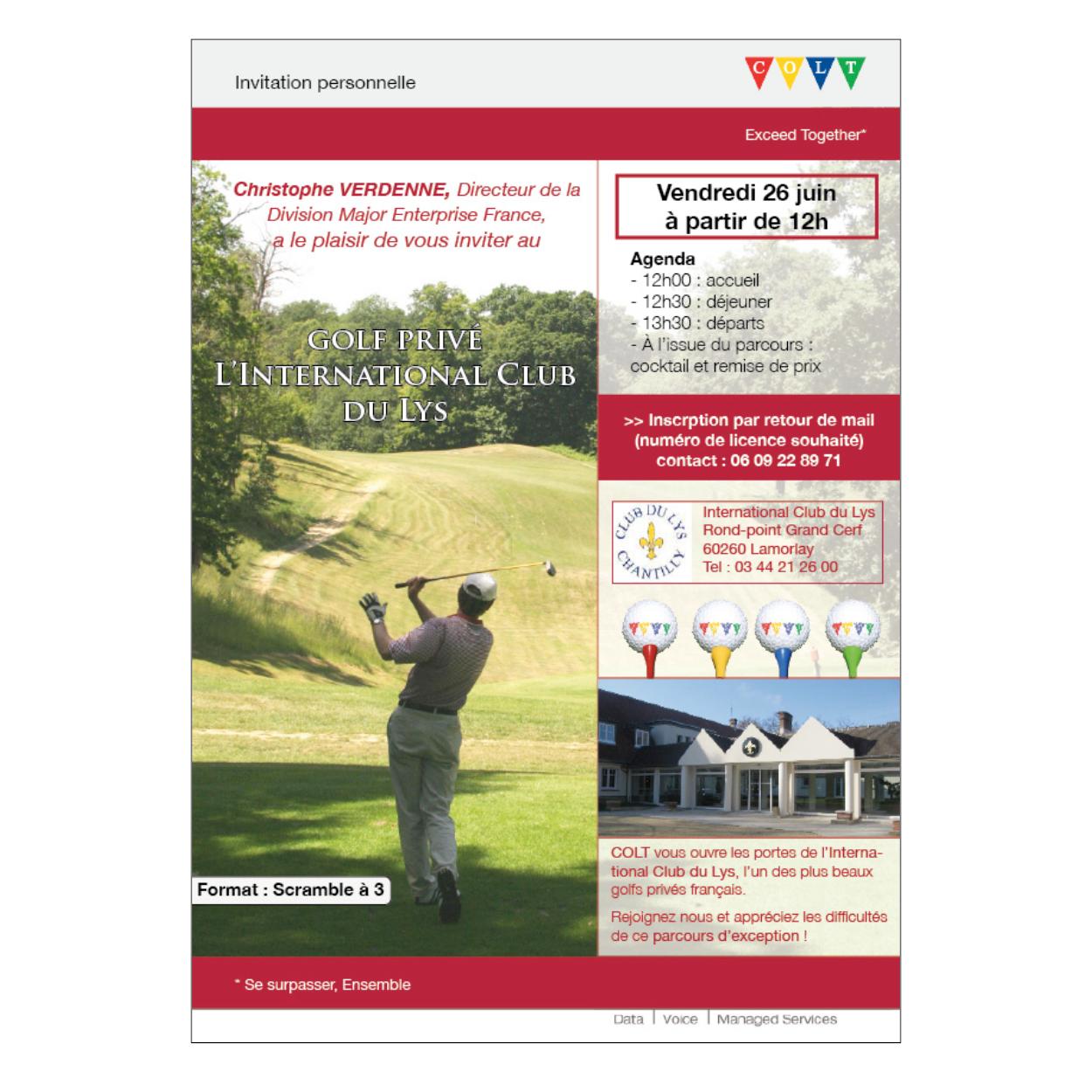 stage COLT Telecom invitation golf